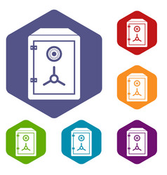 safe icons set vector image