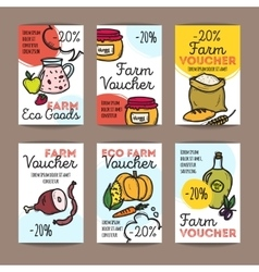 set of discount coupons for farm food vector image