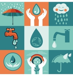 Set of retro flat banners - save water vector