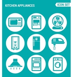 set of round icons white Kitchen appliances vector image vector image