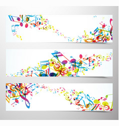 Set of website banners with colorful music notes vector