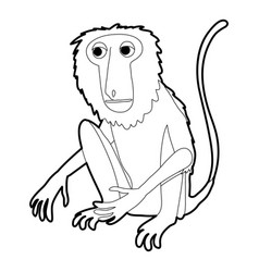 sitting monkey icon outline vector image vector image