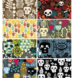 Skulls and flowers cards vector image