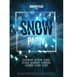 Snow Party Flyer Abstract Winter Poster vector image vector image