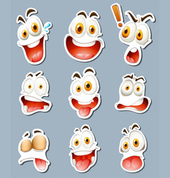 sticker design for facial expressions vector image vector image