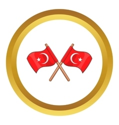 Turkey crossed flags icon vector