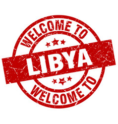Welcome to libya red stamp vector