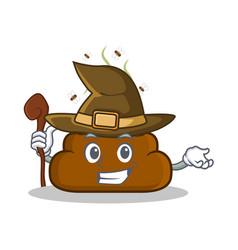 Witch poop emoticon character cartoon vector