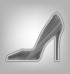Woman shoe sign pencil sketch imitation vector