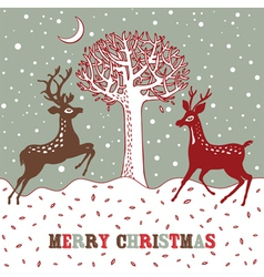 Vintage Christmas Deer Card vector image