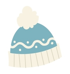 Winter cup hat flat icon vector image