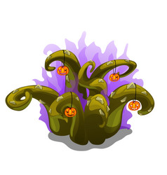 Mystical plant with thorns and pumpkins halloween vector