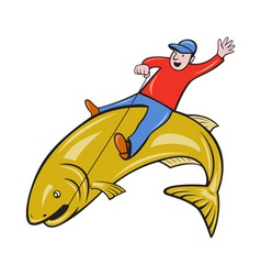 Fisherman Riding Jumping Trout Fish vector image