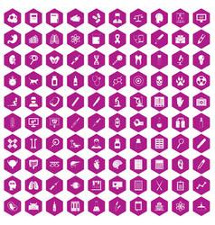 100 diagnostic icons hexagon violet vector