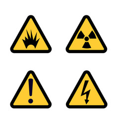 hazard warning sign icon set on white background vector image