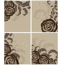 Leaves and roses vector