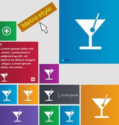 Cocktail icon sign buttons modern interface vector