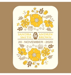 Invitation card with yellow flowers vector