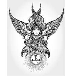 Hand drawn fallen angel lilith partrait vector