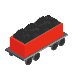 Wagon with coal 3d isometric icon vector