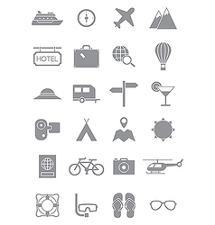 Gray traveling icons set vector image