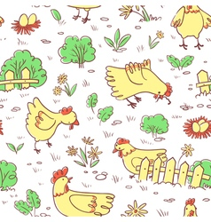 Seamless pattern with doodle cute chickens vector