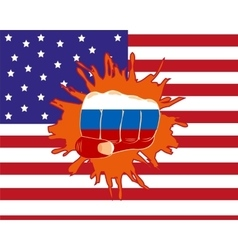Fist overpunching flag vector image
