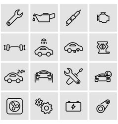 Line car service icon set vector