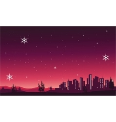 Silhouette of city scenery christmas vector