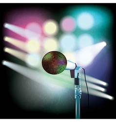 Abstract background with microphone and spotlights vector