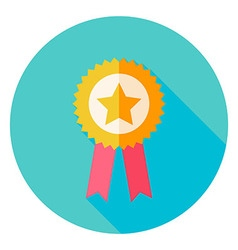 Award gold medal with star circle icon vector