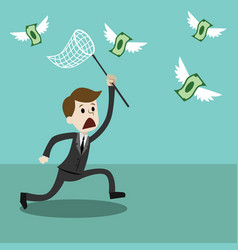 Businessman with a butterfly net trying to catch vector