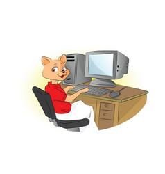 Cat using a computer vector