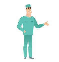 Caucasian doctor with hand in his pocket vector