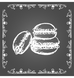 Chalk macarons and vintage frame vector image