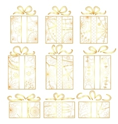 Christmas gifts set golden isolated vector image vector image