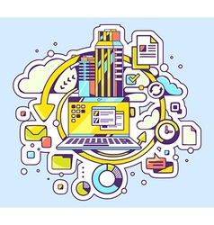 color of laptop and business processes on bl vector image