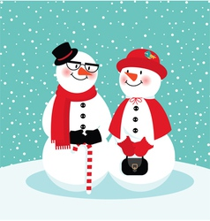 Couple of snowmen vector image