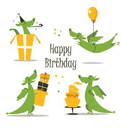 cute dragon celebrating birthday vector image vector image