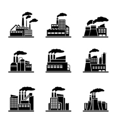 Factory and industrial building icons vector image vector image