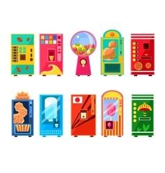 Food and drink vending machines design set vector