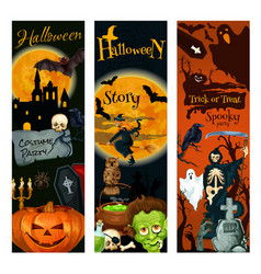 halloween holiday celebration party banner design vector image vector image