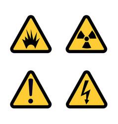hazard warning sign icon set on white background vector image vector image
