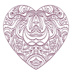 Heart with valentines decorative elements vector