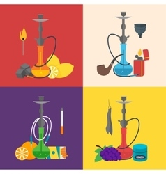 Hookah Sign Set Flat Design Style vector image