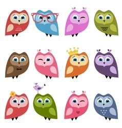 Owls and owlets set vector