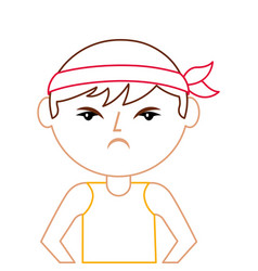 portrait cartoon angry man chinese with head band vector image