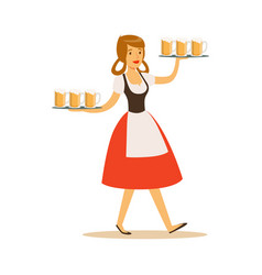 Pretty waitress in bavarian traditional costume vector