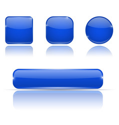 Set of blue buttons web shiny 3d icons vector