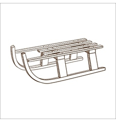 Sled sledge isolated on white vector image vector image